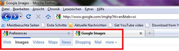 Google mit Tabs